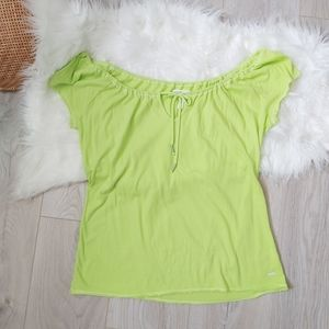 Neon green off the shoulder tshirt